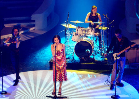 The Corrs grace the stage at the Italian Festival di Sanremo, March 2002.